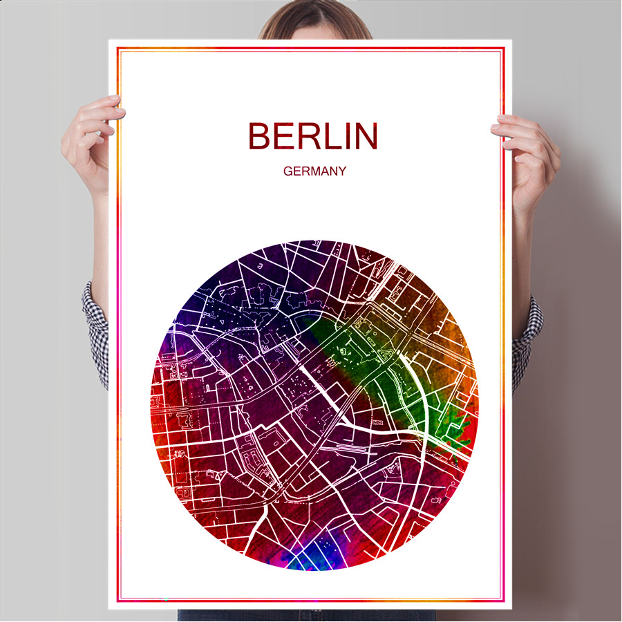 Berlin germany famous world city map print poster print on paper or canvas wall sticker bar pub cafe living room home decoration