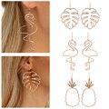 Полые металлические серьги-подвески из розового золота с листьями, фламинго, ананасами для женщин, Индивидуальные Крупные женские вечерние...