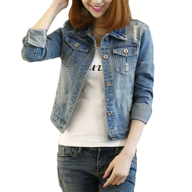 Spring Autumn New Denim   Jacket   Women Long-sleeved Korean Jeans   Jackets   Women's Short Slim Hole Plus size   Basic     Jackets   Coat F33