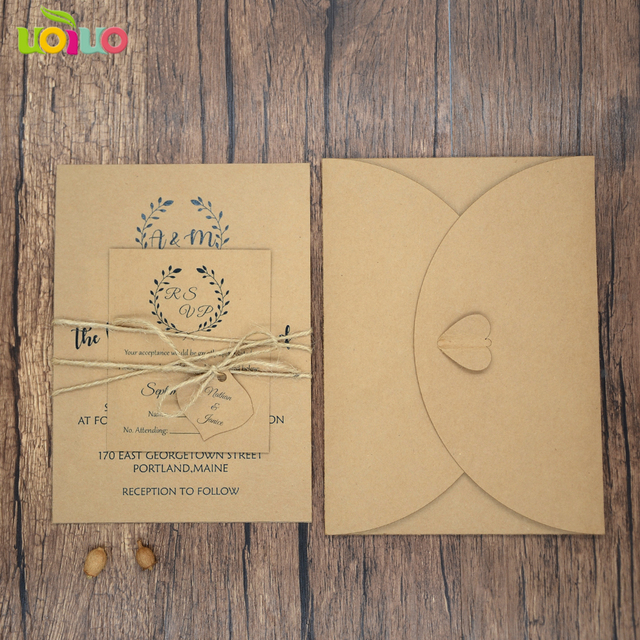 50pc Print Kraft Wedding Invitation Cards Envelope Rsvp Hemp Rope Tag For