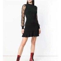 Cosmicchic Мода Взлетно посадочной полосы дизайнер черное платье с длинным рукавом Тюль шить вязаный тонкий
