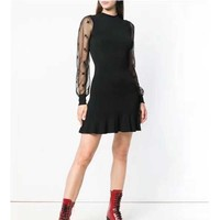 Cosmicchic Fashion Runway Designer Black Dress Long Sleeve Tulle Stitching Knitted Slim Dress