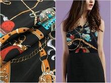 Бренд шелковый 19 мм 97% шелк тутового шелкопряда и 3% спандекс сеть печати Стретч-черный шелковый атлас Ткань для платья рубашки одежда cheongsam C01