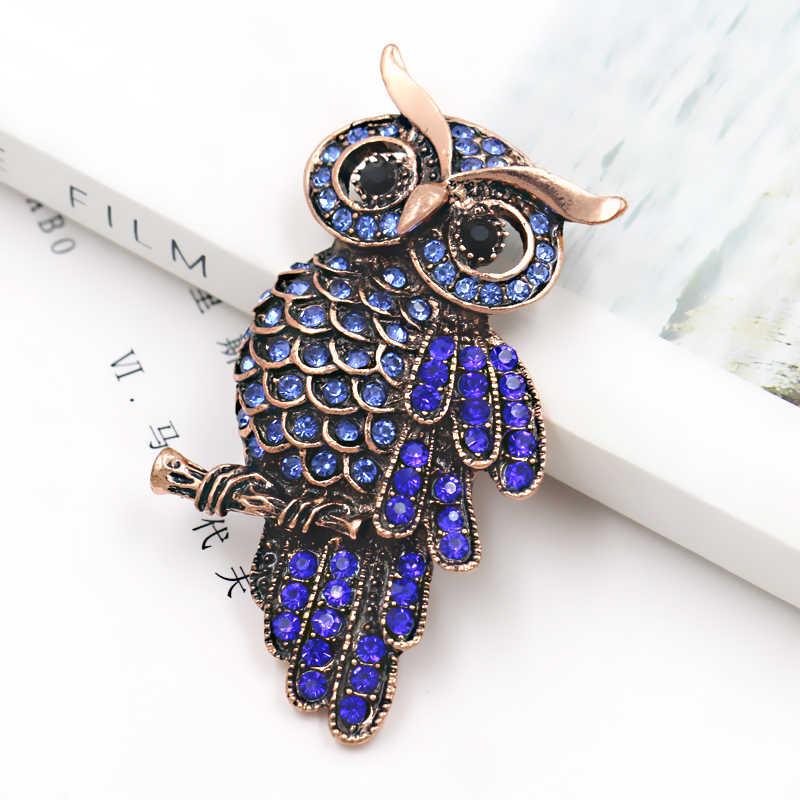 Weimanjingdian Pabrik Penjualan Langsung Kualitas Tinggi Biru Berlian Imitasi Burung Hantu Bros Pin untuk Wanita