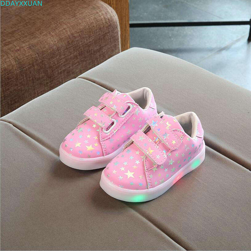 New Spring Autumn Fashion Children Shoes With Light Led Kids Shoes Luminous Glowing Sneakers Baby Toddler Boys Girls Shoes 21-30