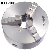 K11-100 3 Three Jaw Lathe Chuck with Self-Centering M8 machine accessory shank adapter ms2 100 mw2 qcc 100 for k11 100 include k11 100 chuck
