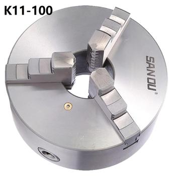 Sanou 3 Jaw Lathe Chuck K11-100 100mm Manual Self Centering M8 for Welding Positioner Turntable Bench Top Lathe Accessories self centering manual 3 jaw lathe chuck k11 80 80mm 3 inch