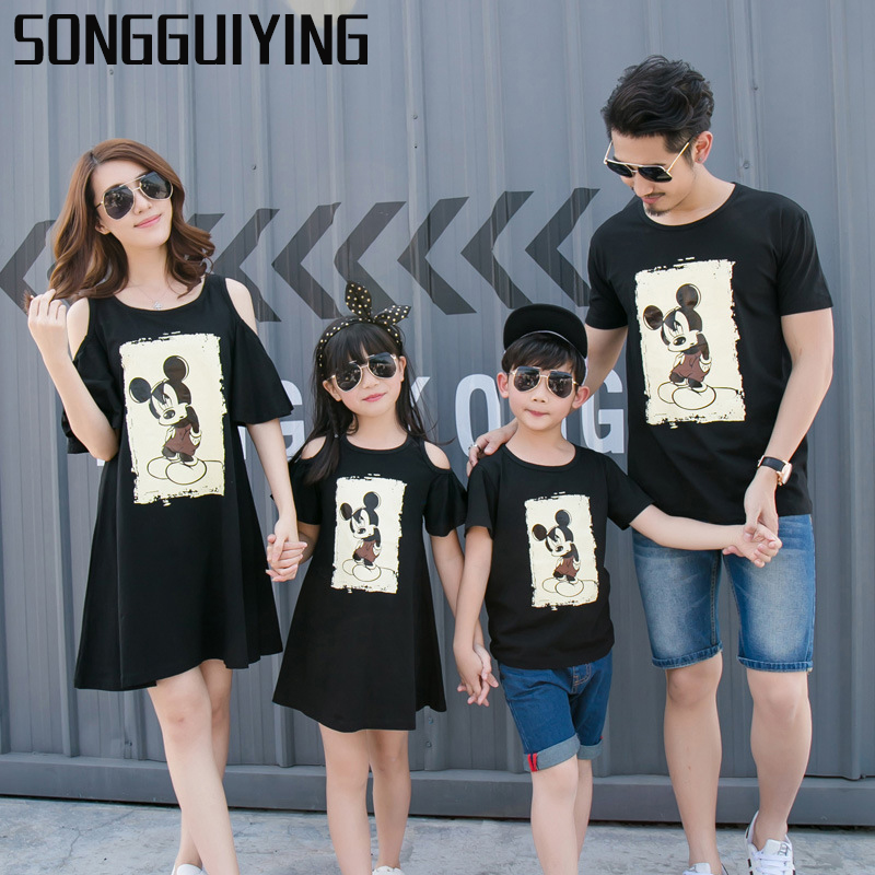 58f74f28857 SONGGUIYING A68 Summer Family Matching Outfits Clothes Mother and Daughter  Off Shoulder Father Baby Boys Girls