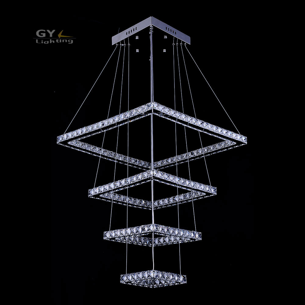 Modern Crystal LED Ceiling Pendant Lamp Stainless Steel Fixture Light For Home 138W big square 4 rings lustres led pendant lamp modern led crystal ceiling light for living room lamp stainless steel