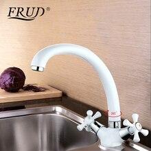 Frud branco banheiro bacia dupla alça misturador torneira da cozinha fria e quente torneira da cozinha único furo de água r42332