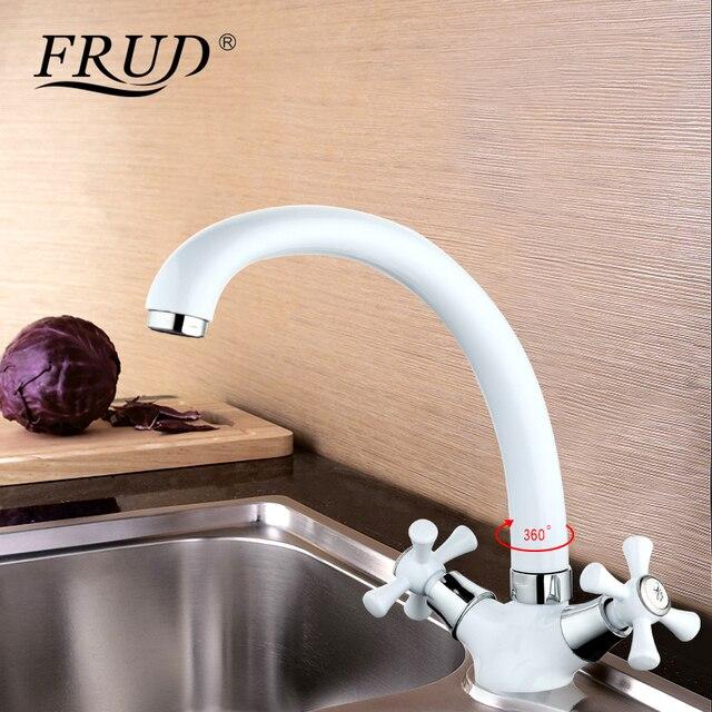 Frud לבן אמבטיה אגן ידית כפולה מטבח ברז מיקסר קר וחם מטבח ברז יחיד חור מים ברז torneira R42332