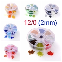 Mixed 12 0 Round Glass Seed Beads Green 2mm Hole 1mm About 8000pcs Box