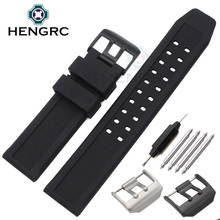 23mm Silicone Watch Band Strap Men Sport Waterproof Black Watchbands For Luminox Accessories Stainless Steel Black Silver Buckle quality silicone watchband 23mm black sport style for mens replacement silicone watch bands with steel buckle