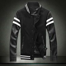 Spring 2016 PU Leather Sleeve Patchwork Casual New Men's Jacket Coat, M- 5XL, Black/Red Jackets Men
