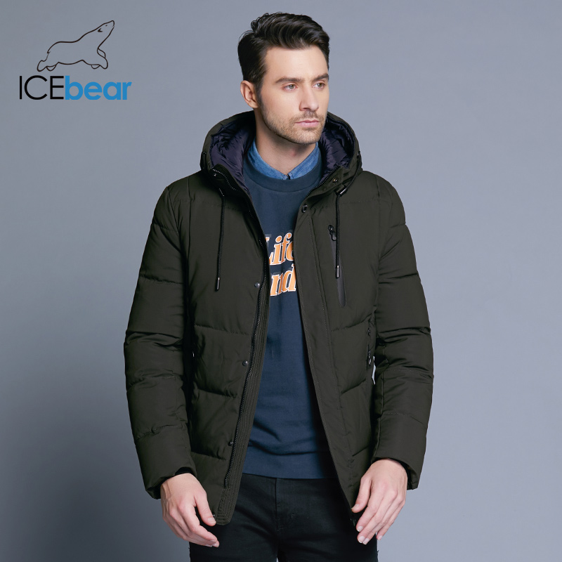ICEbear 2019 new winter men's jacket simple fashion hooded coat knit cuff design male's thermal fashion brand parkas MWD18926D