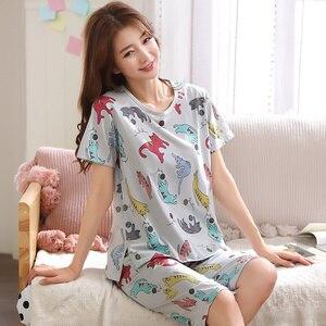 Image 4 - women pajamas sets big size 100% cotton short sleeve nightwear animal pyjamas lady summer sleepwear M L XL XXL XXXL 4XL 5XL