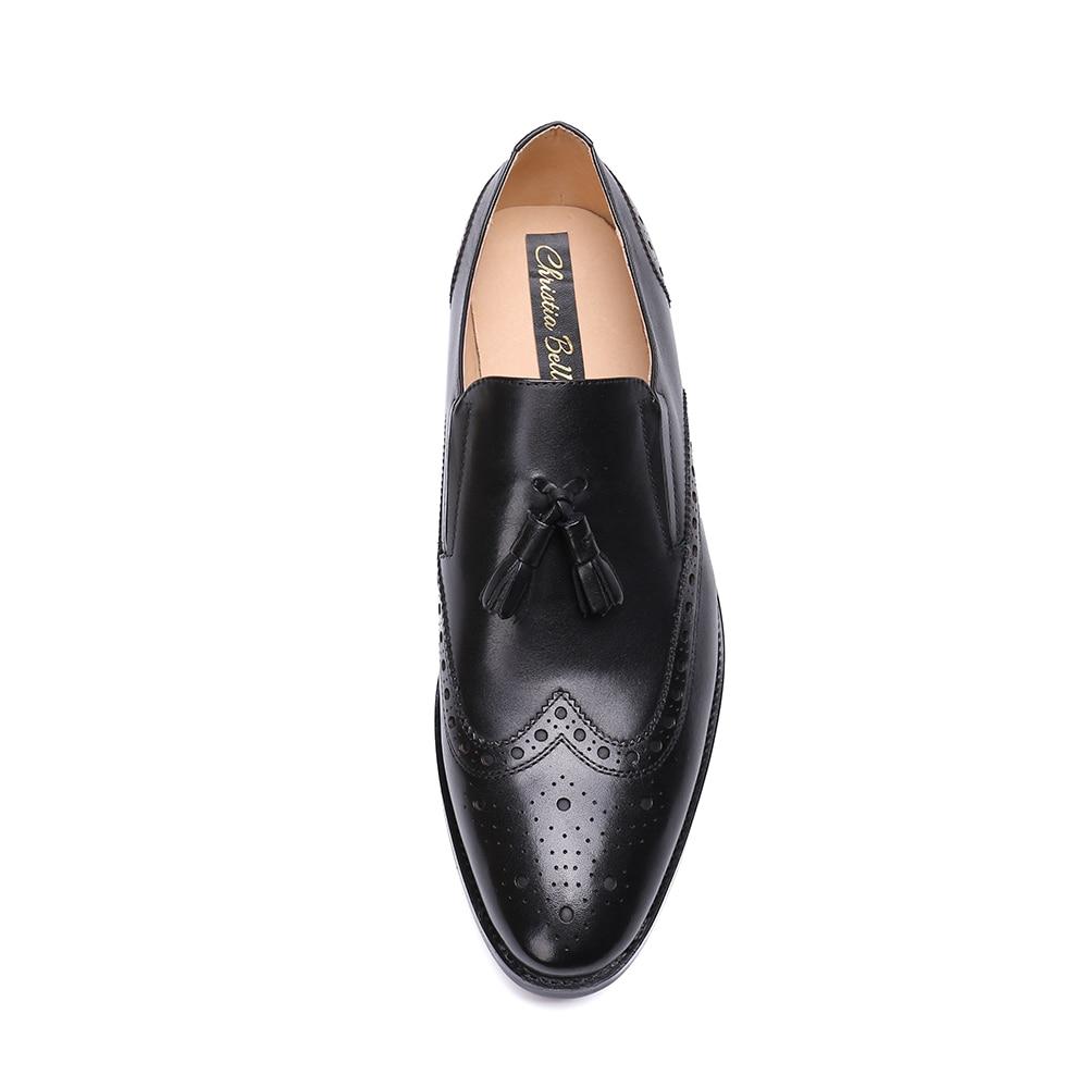 48 En Negro Brogue Zapatos Borla Cuero Genuino Vestido Tamaño Bella De Deslizamiento Boda 1 Más Fiesta 3 38 2 Hombres Loafer Christia wp7fUB