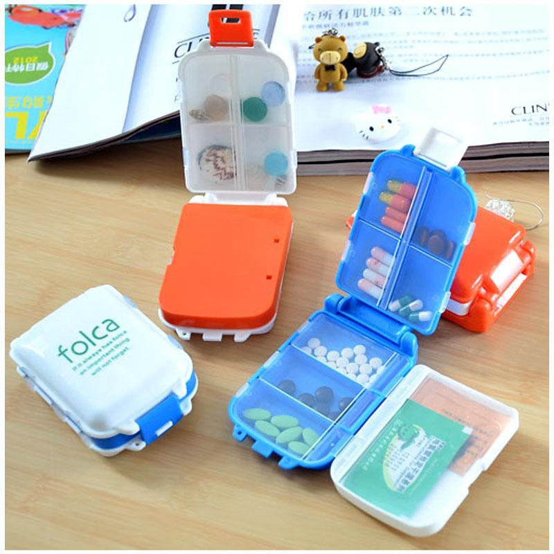 1pcs Pill Box Folding Vitamin Medicine Container Makeup Storage Case Organizer Zh065 In Cases Splitters From