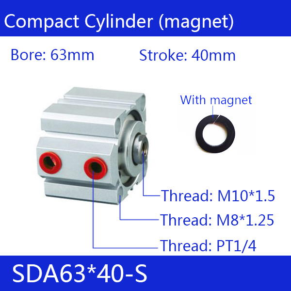SDA63*40-S Free shipping 63mm Bore 40mm Stroke Compact Air Cylinders SDA63X40-S Dual Action Air Pneumatic Cylinder