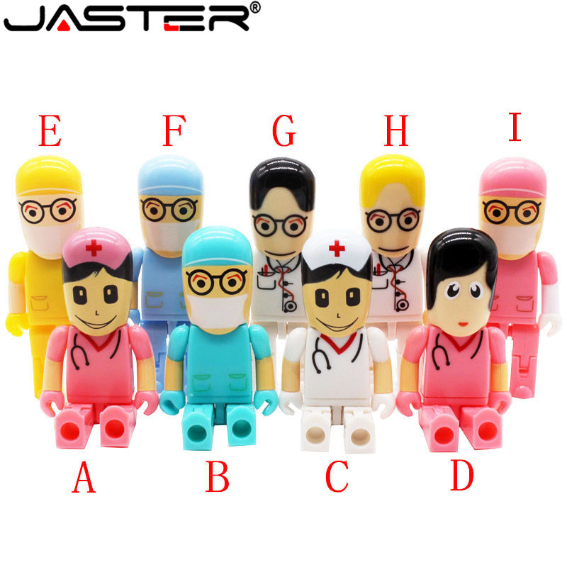 JASTER Doctors USB Stick Nurses Memory Stick Lovely Pendrive Cartoon Usb Flash Drive 8gb Pen Drive 16G Flash Card Free Shipping