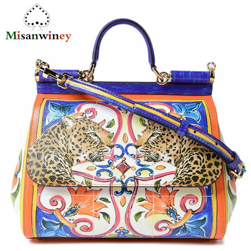 Misanwiney 2018 European Luxury Brands Leopard Genuine Leather Tote Bags Women Bags Famous Designer Shoulder Handbags Sac A Main european and american style fashion lady genuine leather handbags women famous brands large captain casual tote bags sac a main