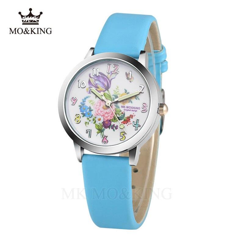 Chinese Style Cartoon Beautiful Print Children's Watch Casual Leather Disc Boy Quartz Clock Girl Sports Watch Reloj Flower Kids