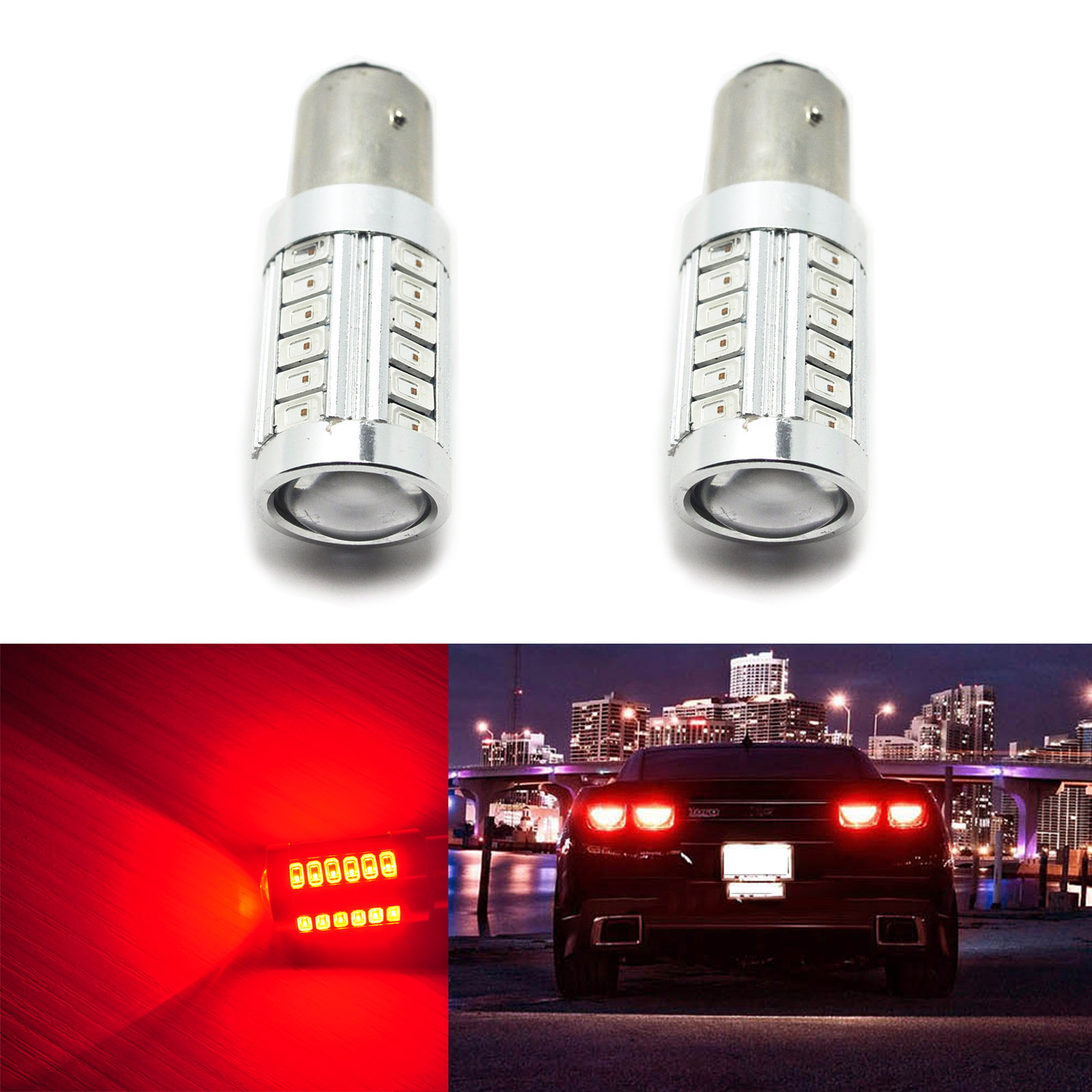 2pcs Car 1157 Bright Red 5730 SMD Car LED Brake Lights 20W High Power Stop Bulbs 2357 2057