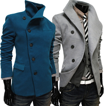 2018 New Single -Breasted Lapel Oblique Placket Wool Coat For Men Men 'S Clothing Coats Jacketstrench