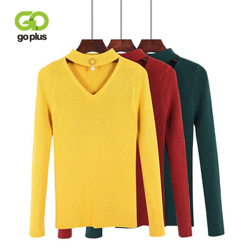 GOPLUS 2020 Spring Winter Halter knitted Sweater Women sexy V neck pearl Cotton Basic Lady Female pullovers Casual Tops