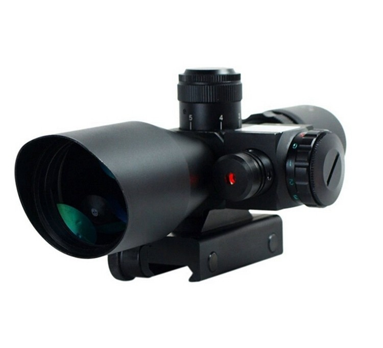 2.5-10x40 Tactical Rifle Scope with Red Laser Dual illuminated Mil-dot w/ Rail Mount 2 5 10x40 e r tactical rifle scope with red laser