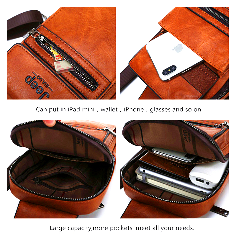 Image 5 - JEEP BULUO High Quality Men Chest Bags Split Leather Large Size Shoulder Crossbody Bag For Young Man Famous Brand Sling Bags-in Waist Packs from Luggage & Bags