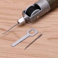 Кожевенное ремесло замок стежка шило для шитья Набор ниток Иглы Стежка Кожа Ткань W215