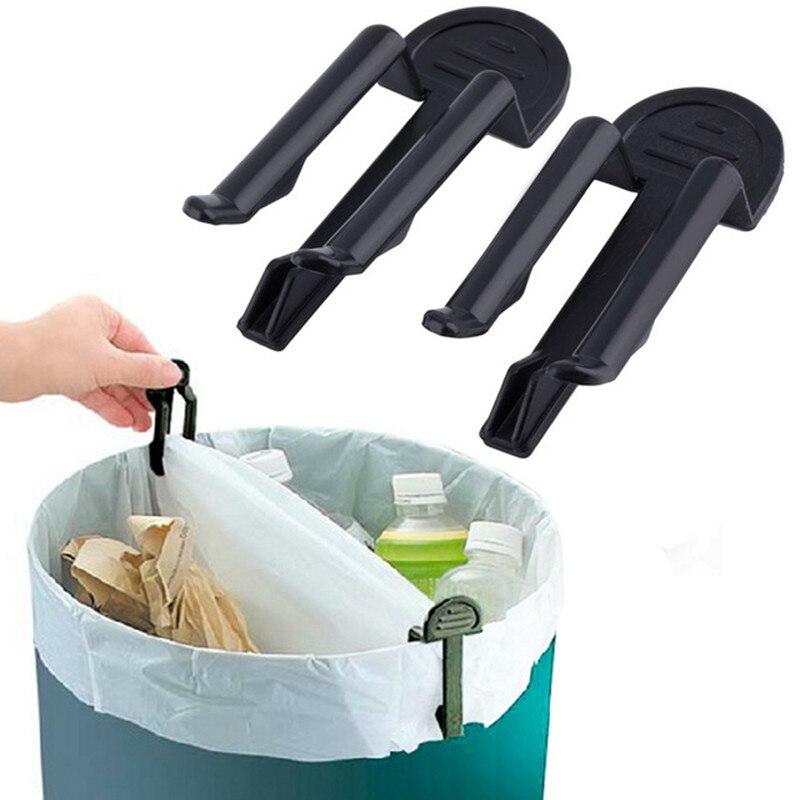 10pcs/lot Practical Kitchen Trash Can Clamp Plastic Trash Rack Storage Garbage Bag Clip Fixed Waste Bin Bag Holder Rubbish Clip
