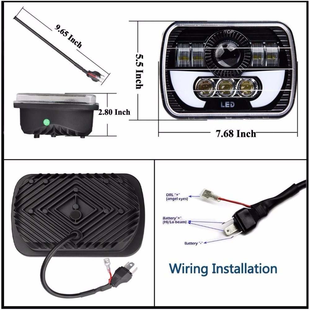 Pair 5X7 Headlights Black Rectangular LED e