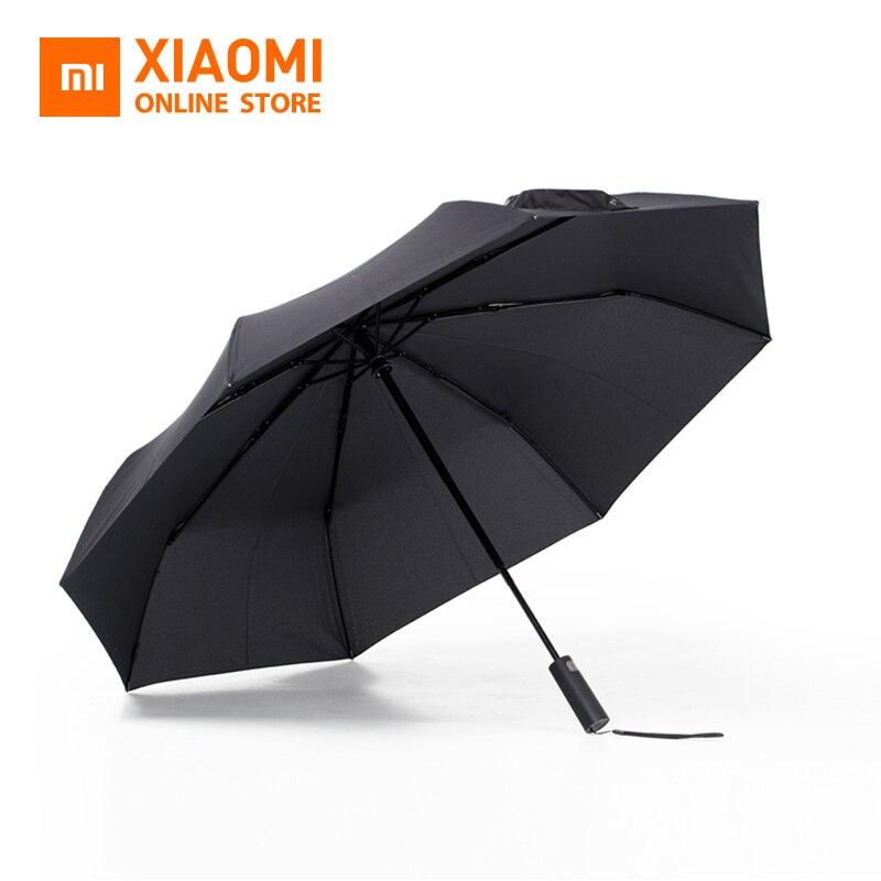 Original Xiaomi Mijia Automatic Um brella Three Folding UV Protect Sunny Rainy Um brella Aluminum Alloy