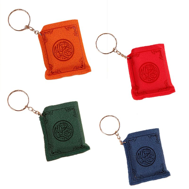 Creative Super Mini Arabic Quran Book Keychain Pendant PVC  Storage Bag Cute DIY Art Craft Key Decor New Year Valentine GiftKey  Chains