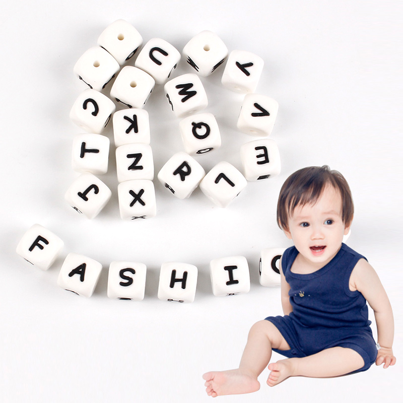 52PCS/Lot Safe Silicone Baby Teether Letter Necklace Toys DIY Loose Beads Clips Teether Chewable Baby Clain Baby Dental Care