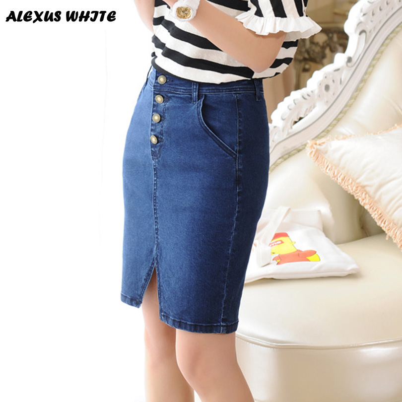 26ff924a44ee 2017 Summer Women's Skirt Jeans Office Ladies Sexy Denim Pencil Skirts  Formal Wear Jupe Longue Skater-in Skirts from Women's Clothing & Accessories