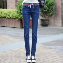 2017 New Women Elastic Waist Jeans Slim High Waist Denim pants Woman Pencil Pants Trousers  A186
