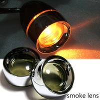 New Smoked Turn Signal Lens Chrome Metal Trim Ring Visor X2 For Harley Dyna Sportster Parts