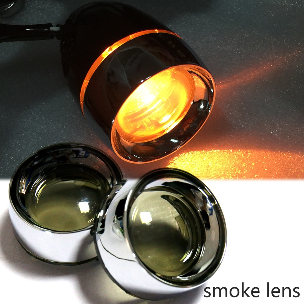 1Pair Smoked Turn Signal Lens Chrome Metal Trim Ring Visor For Harley Dyna Touring Street Glide Softail Sportster 883 1200