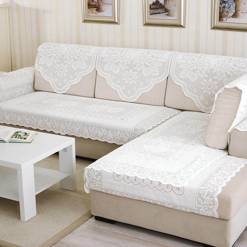US $5.88 40% OFF 1Pcs White Lace Fabric Sectional Sofa Cover Sofa Towel  Tablecloth Home Decoration Dustproof-in Sofa Cover from Home & Garden on ...