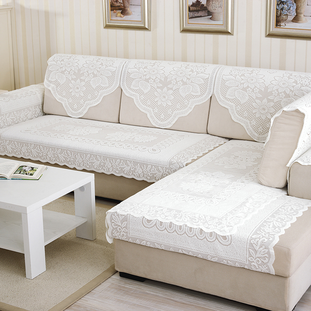 1Pcs White Lace Fabric Sectional Sofa Cover Sofa Towel Tablecloth Home  Decoration Dustproof