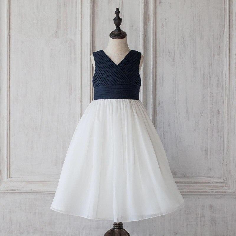 цена на Sleeveless A-Line Flower Girl Dresses Chiffon Mother Daughter Dresse For Girl Party Folds Toddler Girls Formal Dress Prom Gowns