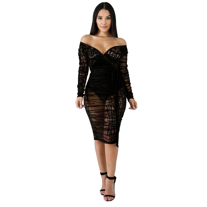 Off Shoulder Bodycon Women <font><b>Dress</b></font> <font><b>Sexy</b></font> V Neck See Through <font><b>Transparent</b></font> Long Sleeve <font><b>Dress</b></font> Women <font><b>Night</b></font> <font><b>Club</b></font> Slim Slit <font><b>Dress</b></font> Vestidos image