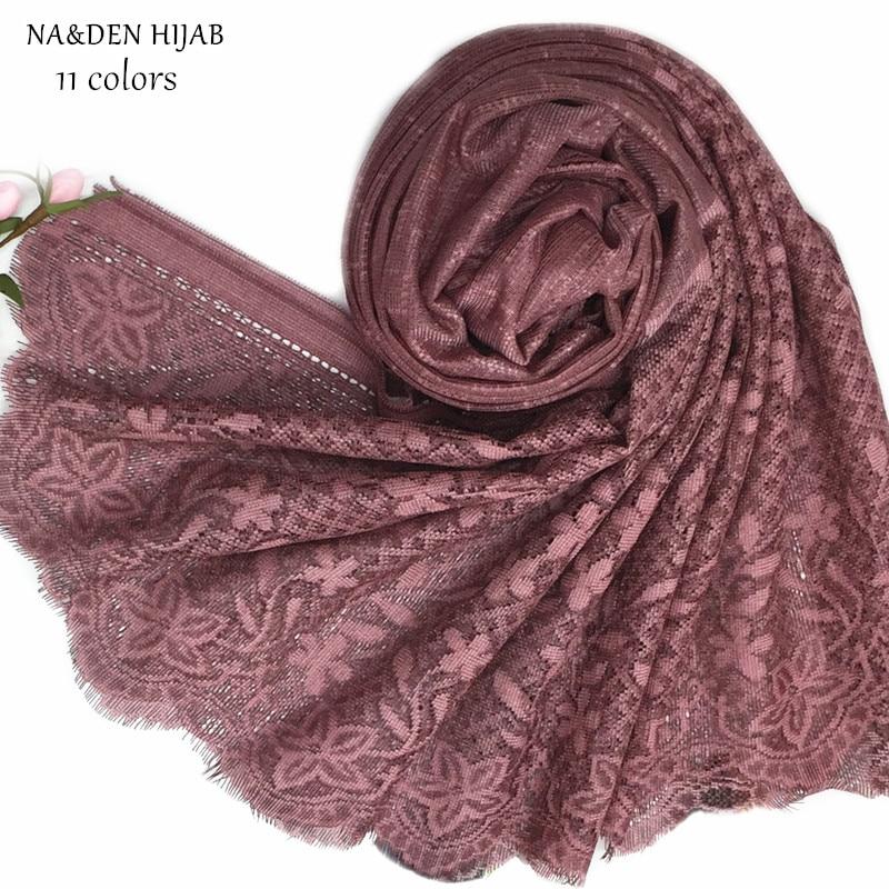 NEW Lace Hijab Scarf Embroidery Shawl Fashion Women Scarves And Shawls Brand Wrap Soft Muffler Luxury Islamic Hijabs