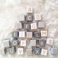 26 Kids Education Toys English Letter Wooden Embellishenment Reading & Writing Alphabet Blocks Kids Play Games Toy Letter Craft