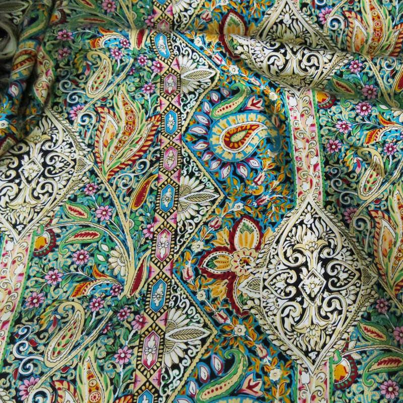 بيزلي العرقية طباعة نسيج القطن المرقعة الخياطة رايون قماش البوبلين لفستان البوهيمي