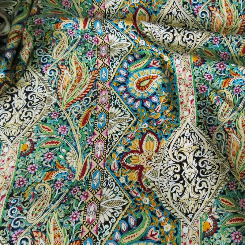 ペイズリーエスニックプリント綿生地パッチワーク縫製レーヨンポプリン生地ボヘミアンドレス