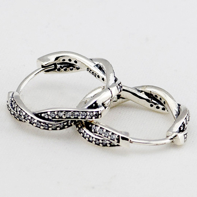 Compatible with Brand 925 Sterling Silver Earrings Women Fashion Jewelry Twist of Fate Braided Hoops Earrings with Clear CZ